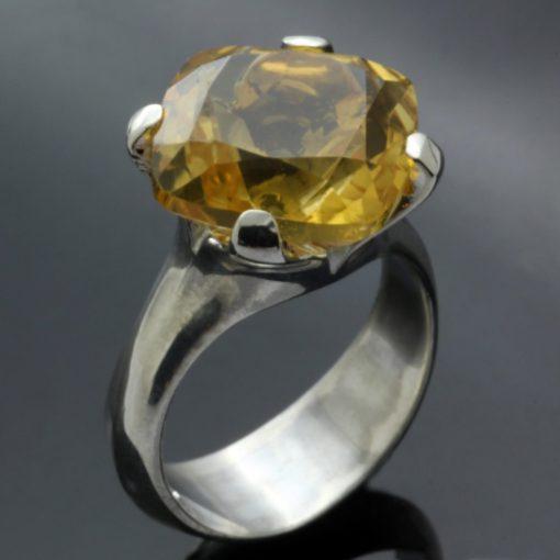Silver handmade Citrine gemstone cocktail statement ring