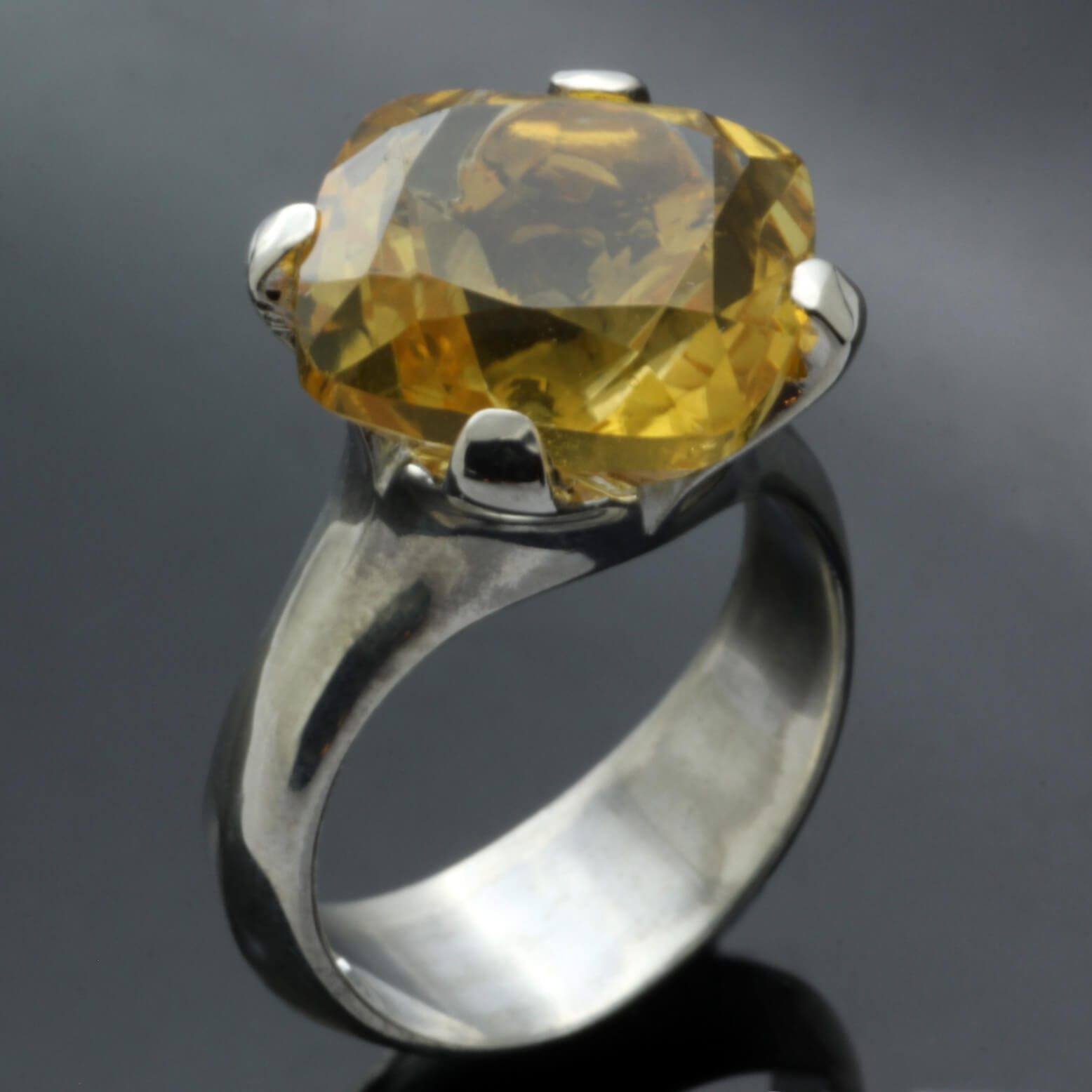Silver handmade Citrine gemstone cocktail statement ring