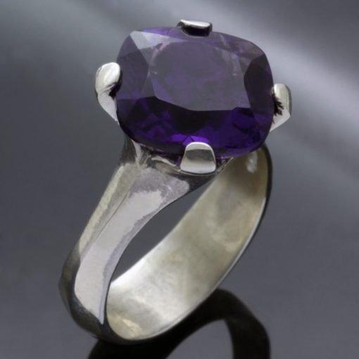Cushion cut Amethyst gemstone Silver handmade ring