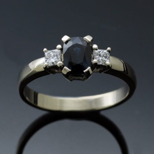 Bespoke handmade modern Sapphire Diamond White Gold Trilogy ring