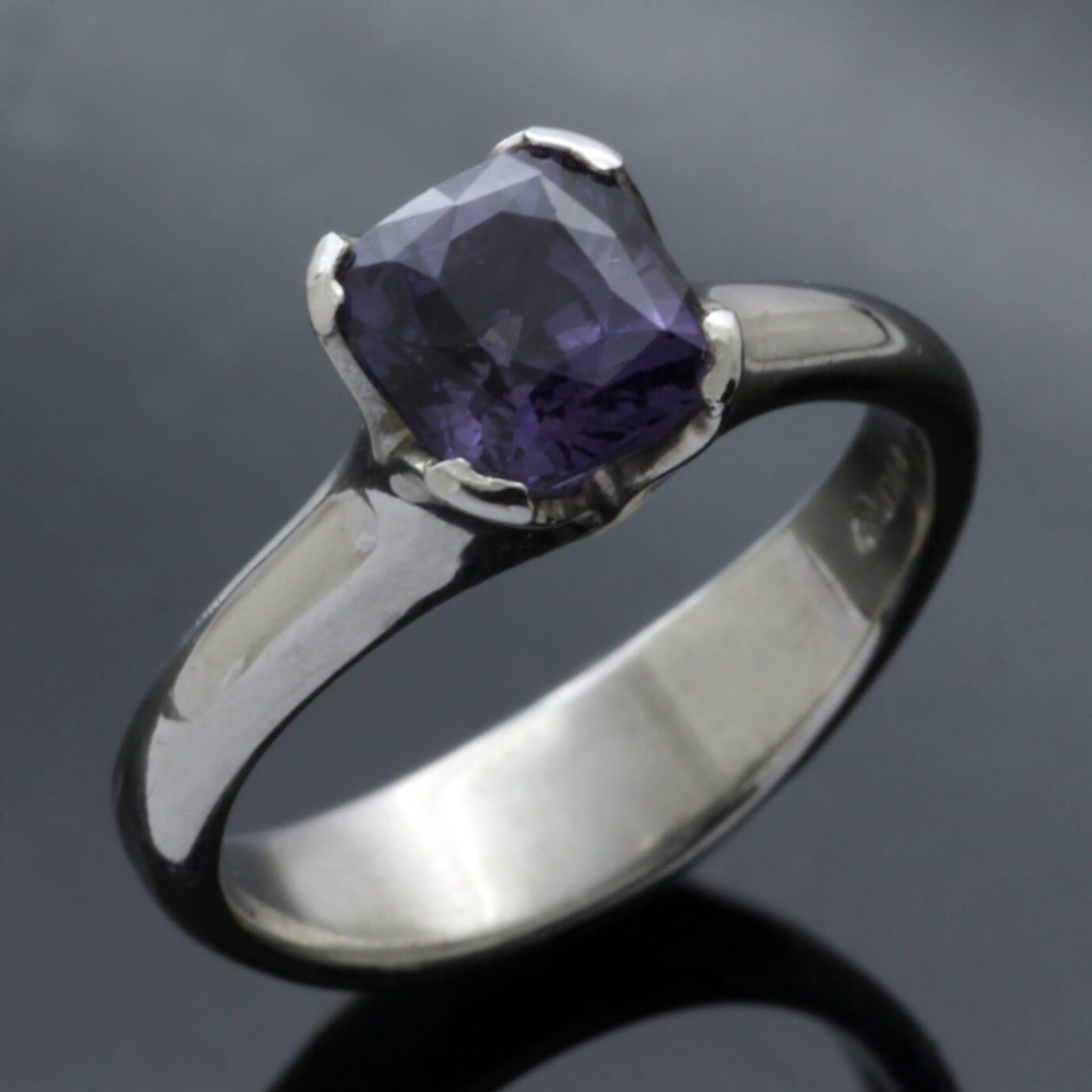 Unique Mauve Spinel Palladium handmade engagement ring
