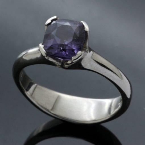 Spinel gemstone set in Palladium handmade engagement ring