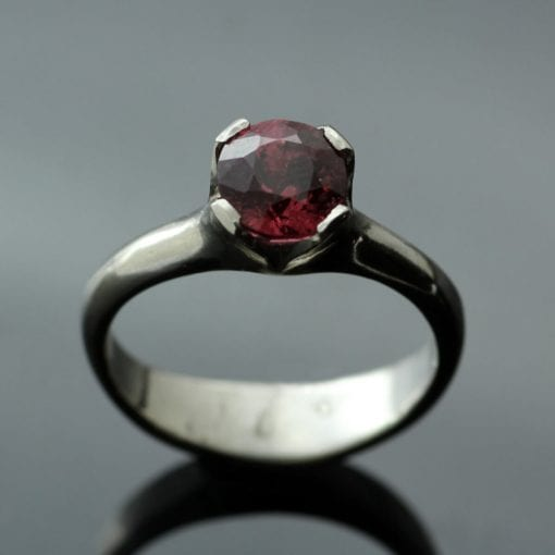 Peach Spinel Palladium modern engagement ring