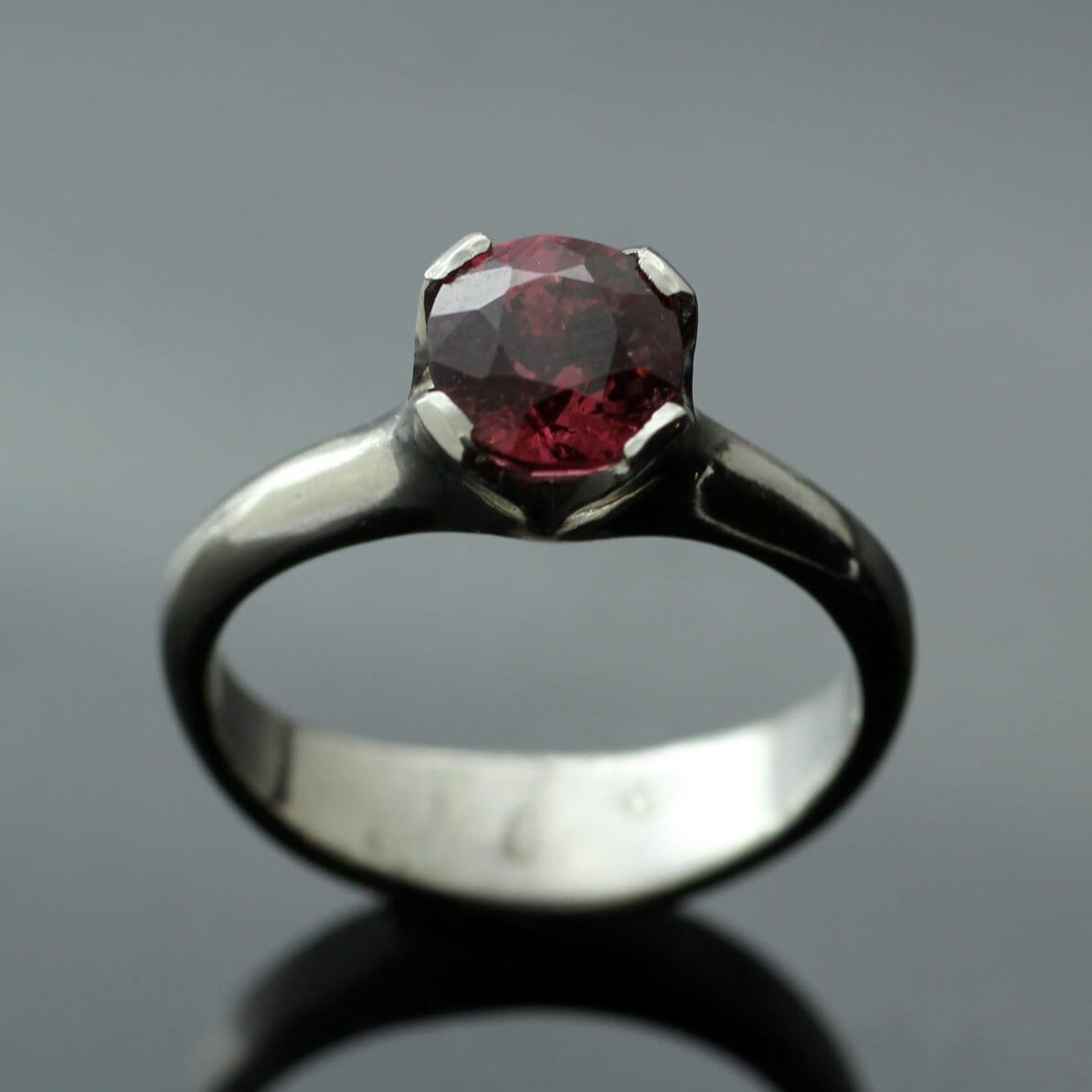 Peach Spinel Palladium modern engagement ring