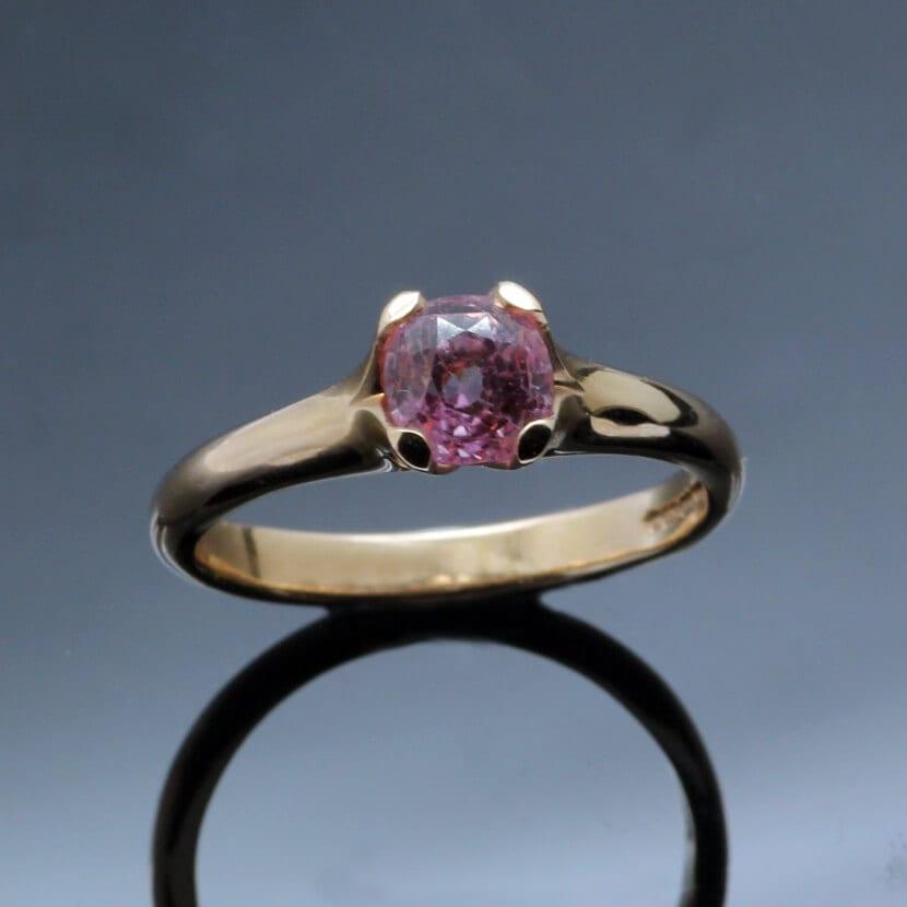 Modern Rose Gold Pink Sapphire Flower engagement ring