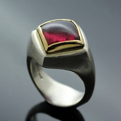 Unique Abbey rings featuring Tourmaline gems collet set in Yellow Gold and Sterling Silver