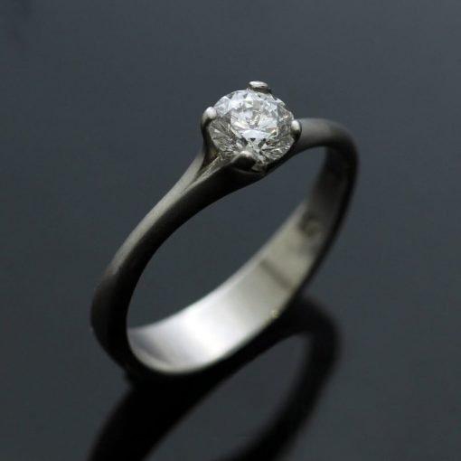 Platinum and Round Brilliant Diamond contemporary engagement ring