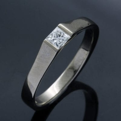 Princess cut Diamond engagement ring set in solid polished 18ct White Gold