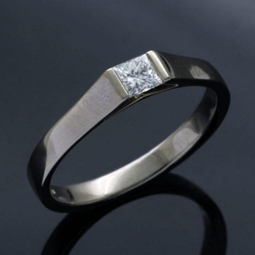 Modern, handmade White Gold and Diamond engagement ring