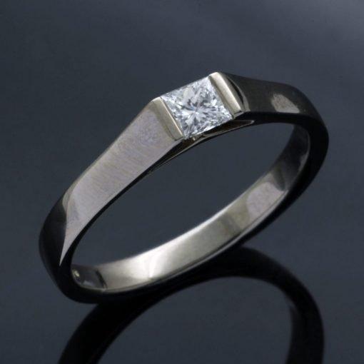 Modern, handmade White Gold and Diamond engagement ring