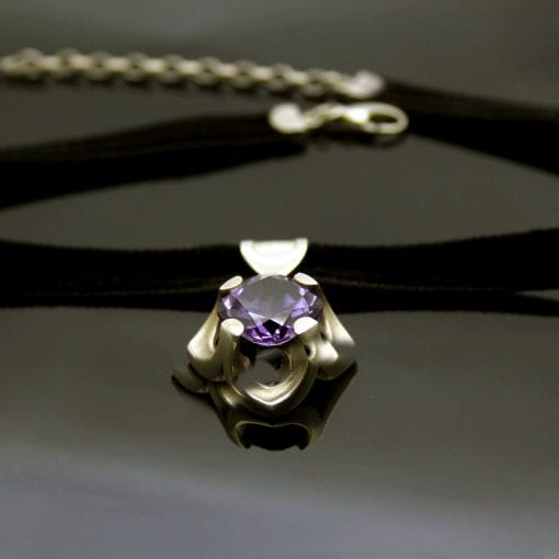 The Abbey window statement choker featuring a glorious cushion cut Amethyst gemstone