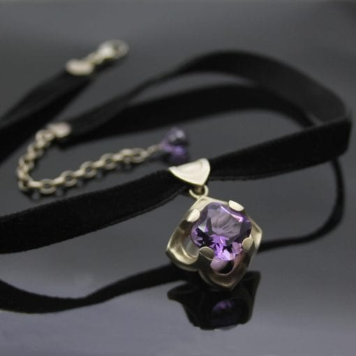 The Abbey Window choker featuring a stunning Amethyst gemstone centrepiece