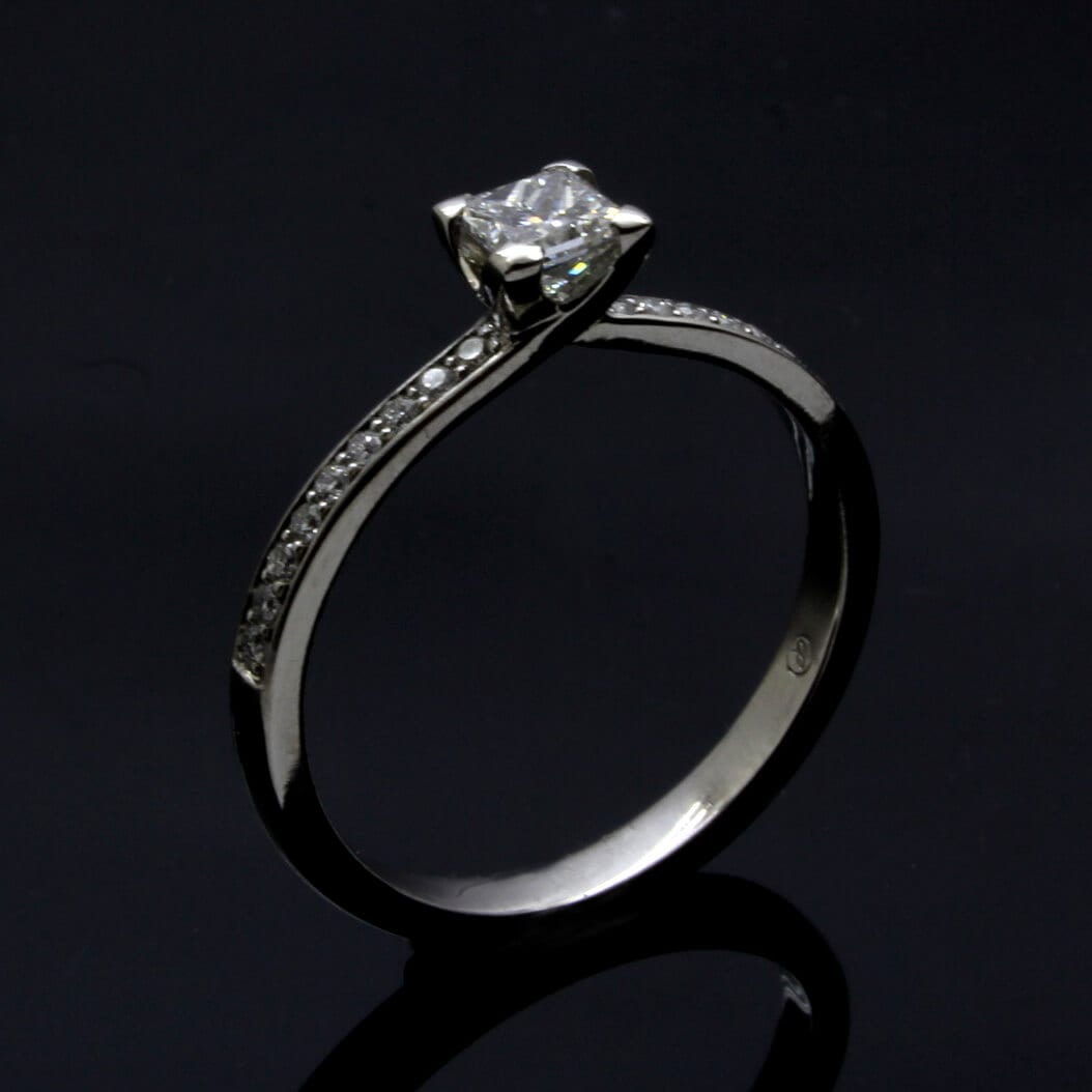 Princess Cut Diamond with pave shoulders of Diamonds handmade engagement ring