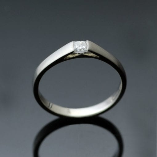 Handmade Princess cut Diamond and satin finish Platinum modern engagement ring