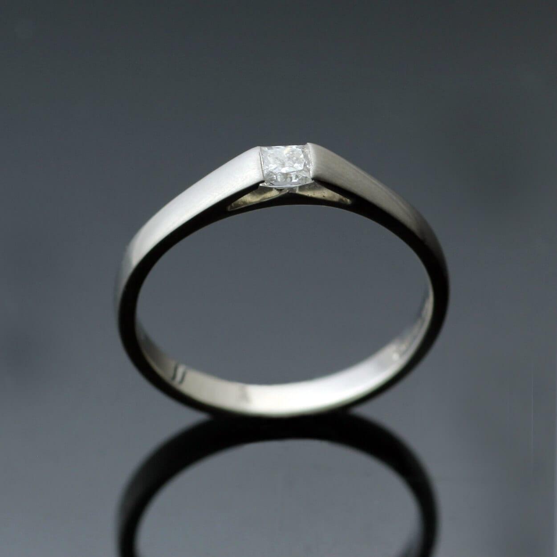 Handmade Princess cut Diamond and satin finish Platinum modern engagement ring