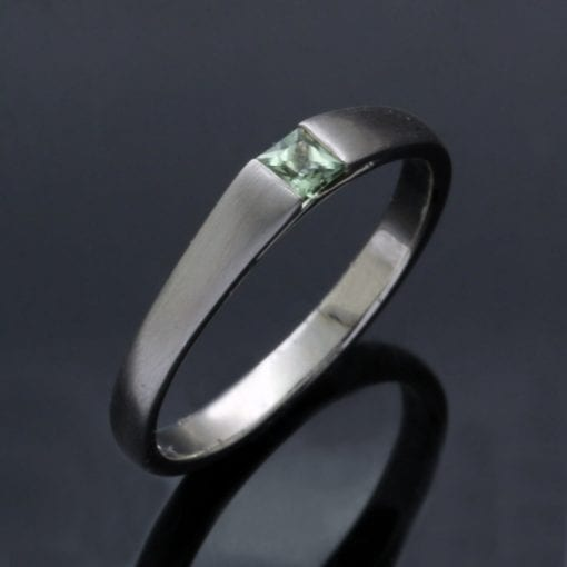 Princess cut Green Sapphire and Platinum engagement ring