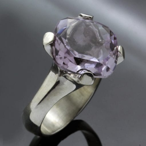 Lilac Amethyst gemstone sterling silver handmade cocktail ring