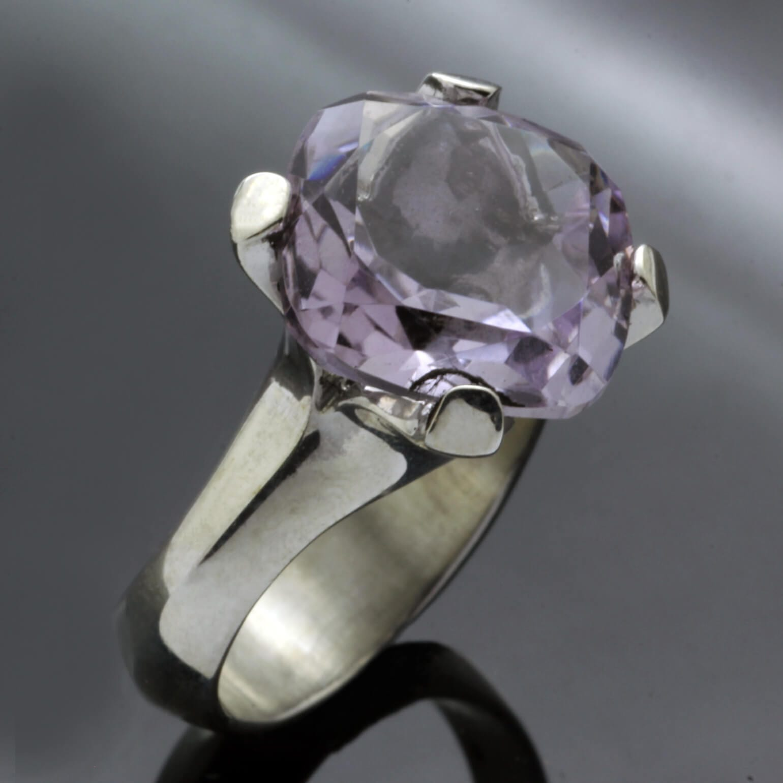Lilac Amethyst gemstone sterling silver handmade cocktail ring