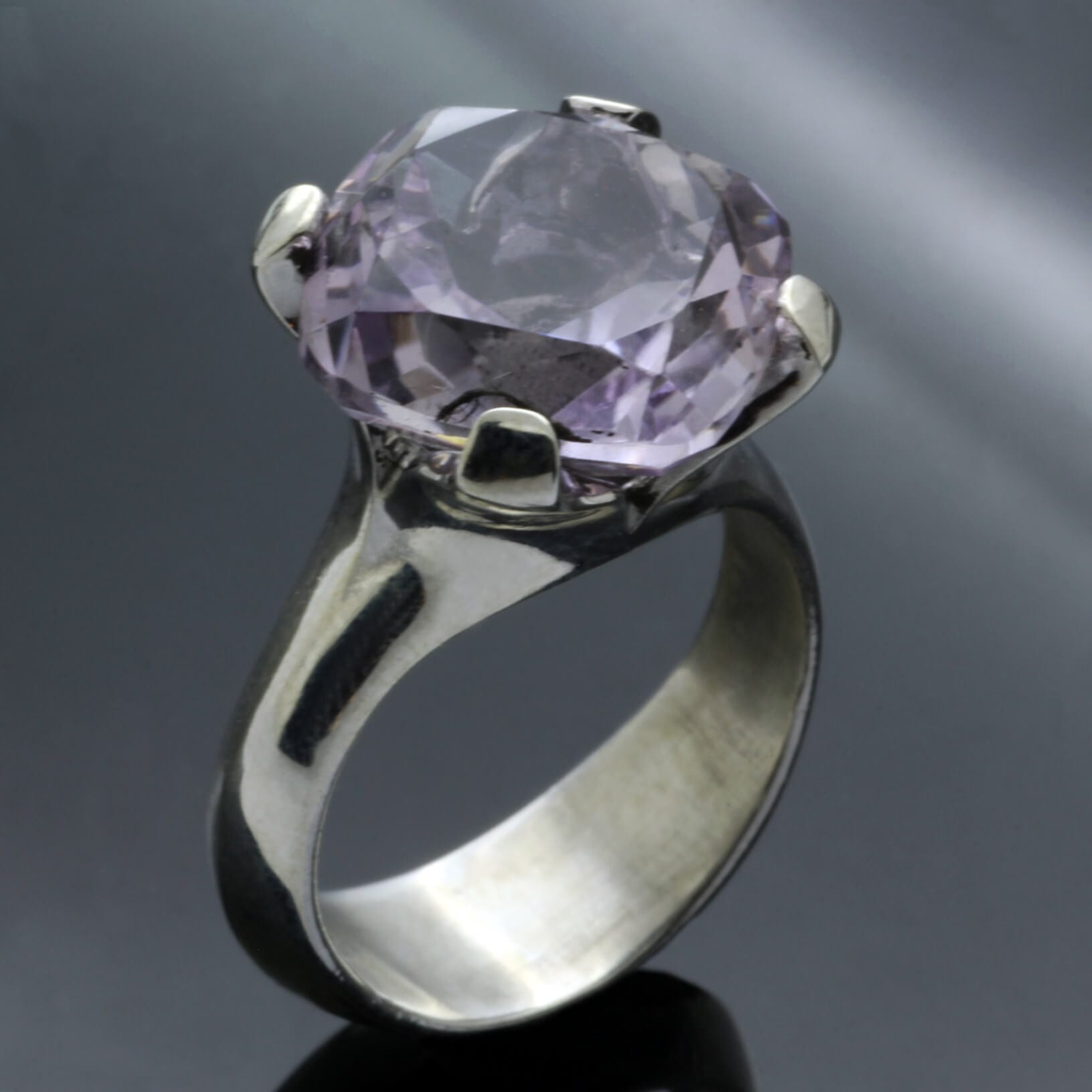 Lilac Amethyst gemstone Sterling Silver handmade statement ring
