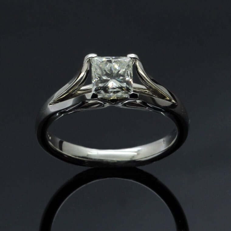 Contemporary handmade 1ct Princess cut Diamond set in solid Platinum engagement ring