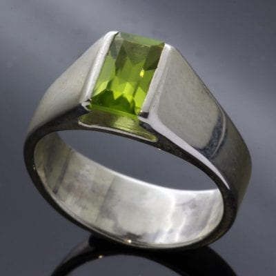 Contemporary Sterling Silver statement ring with Baguette cut Peridot gem