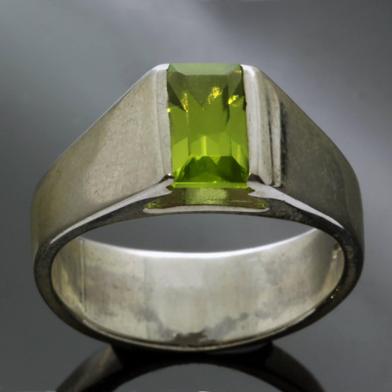 Baguette cut Peridot Sterling Silver handmade statement ring