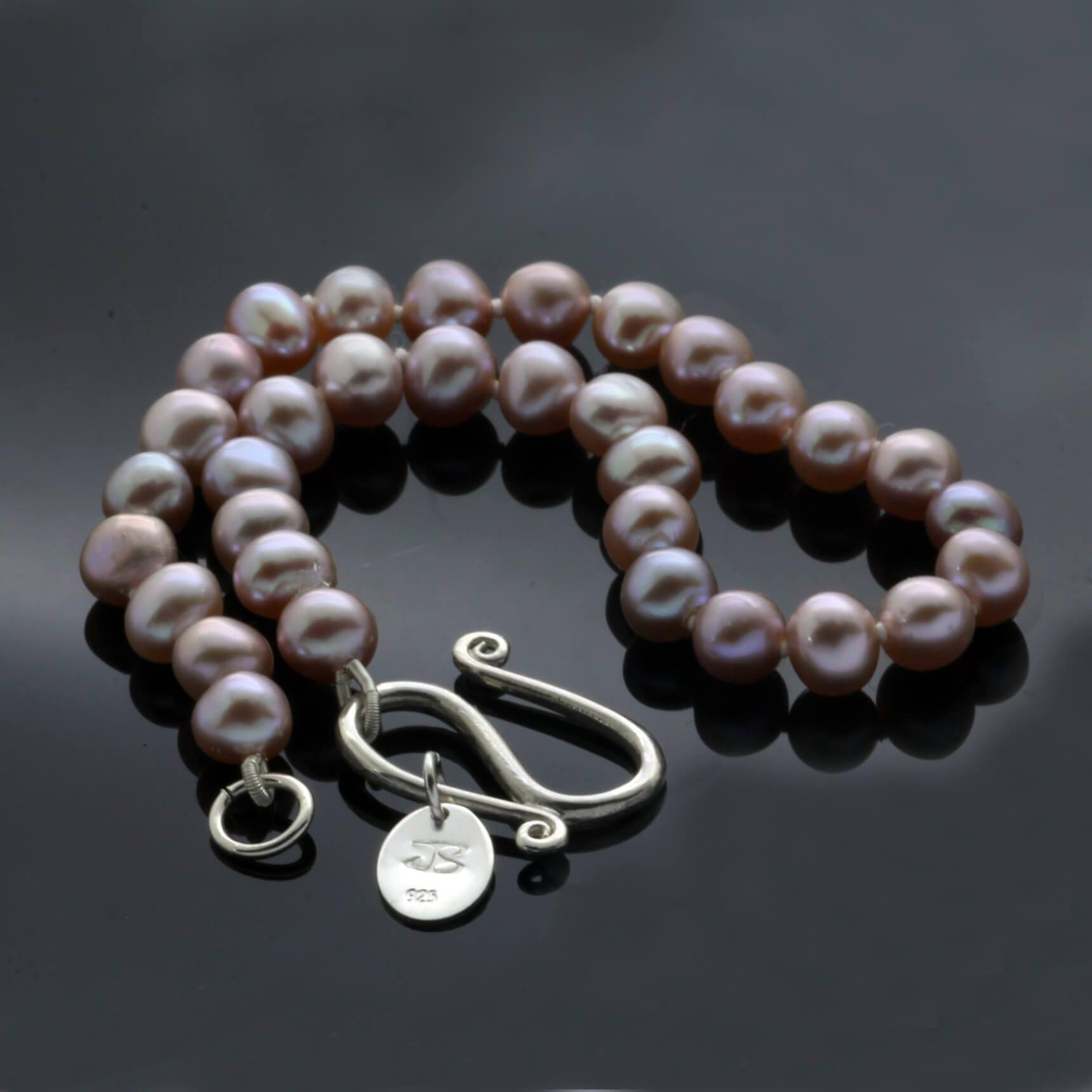Dusty pastel Pink freshwater Pearl Sterling Silver bracelet