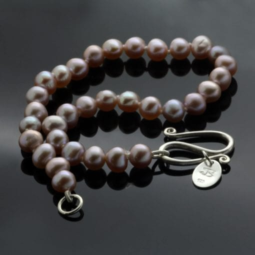 Handmade freshwater pink Pearl sterling silver bracelet