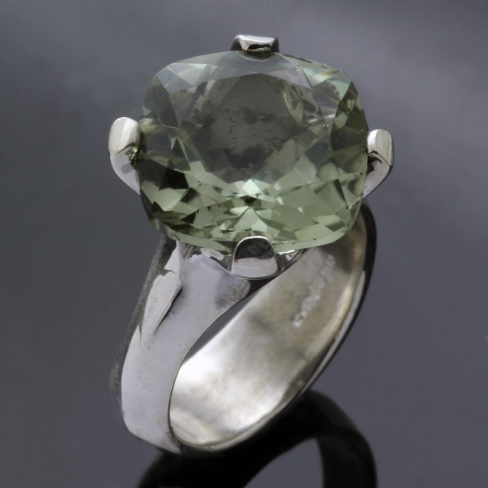 Sterling Silver Prasolite gemstone handmade statement ring