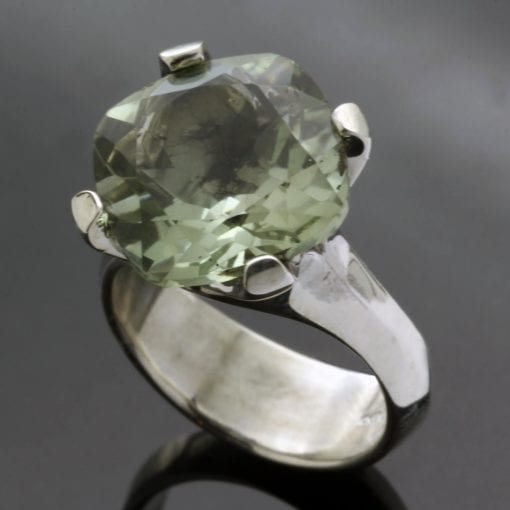 Prasolite gemstone Sterling Silver cocktail ring