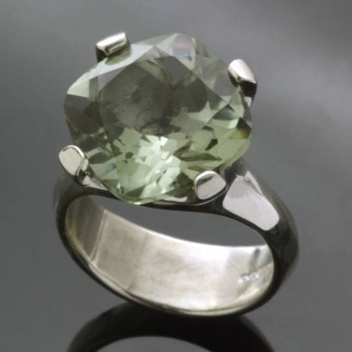 Prasolite gem handmade Silver cocktail ring