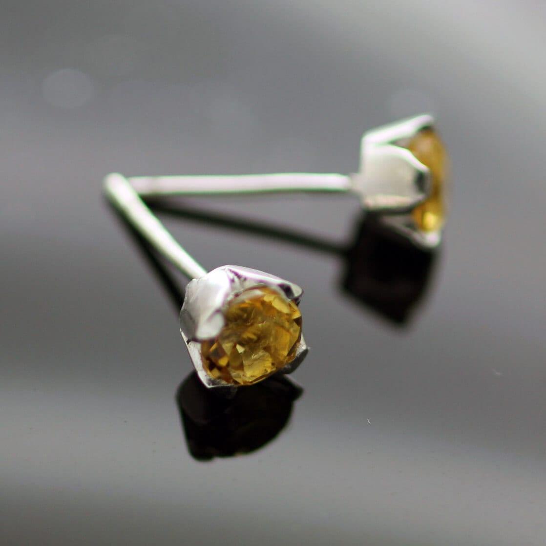 Citrine gemstone sterling silver contemporary stud earrings