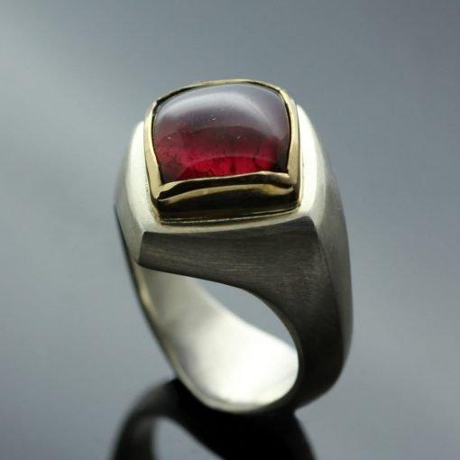 Modern red Tourmaline gemstone Abbey cocktail ring