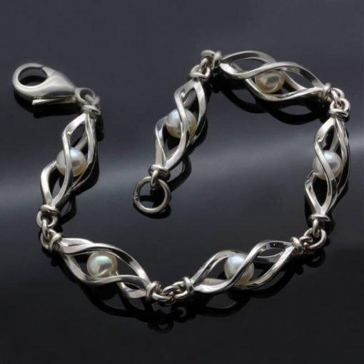 Sterling Silver unique bracelet natural white Pearl gems