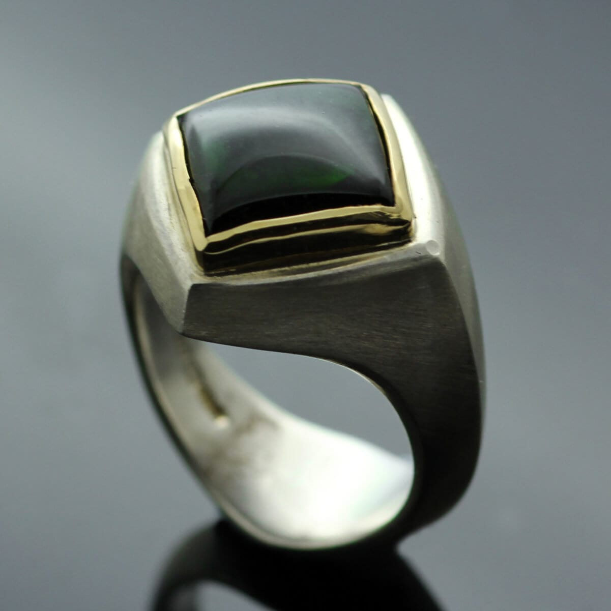 Contemporary Tourmaline Yellow Gold and Sterling Silver Abbey Ring