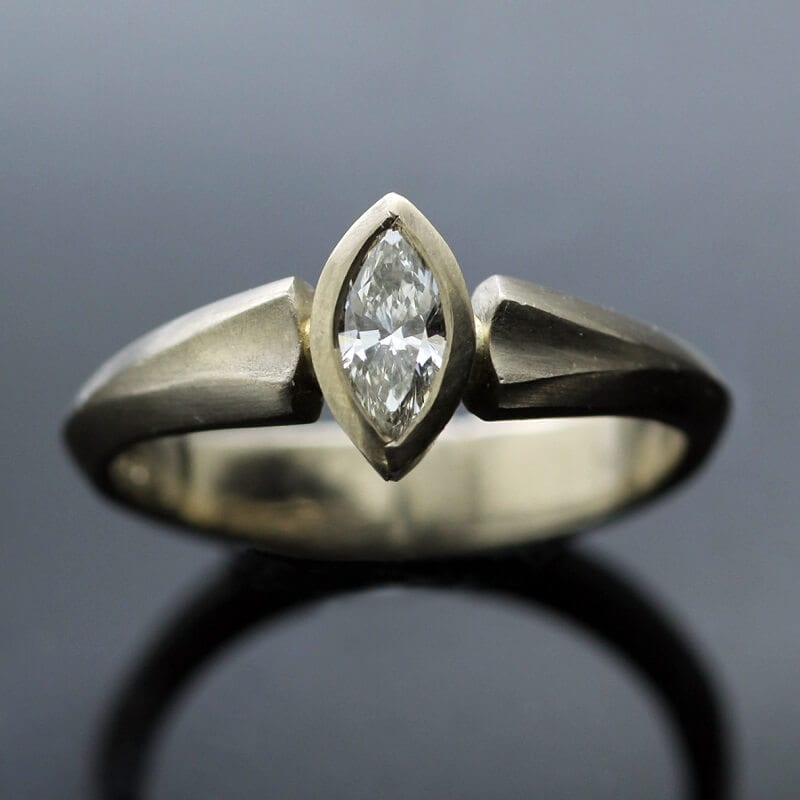 Marquise cut Diamond and solid White Gold modern engagement ring
