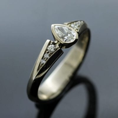14ct White Gold with Pear cut Diamond and diamond shoulders handmade engagement ring