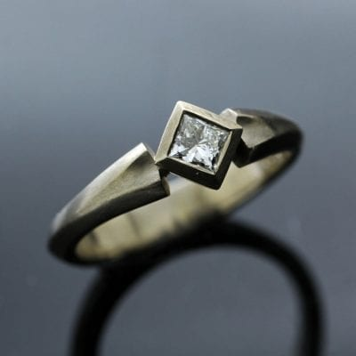Princess cut Diamond set in White Gold handmade contemporary engagement ring
