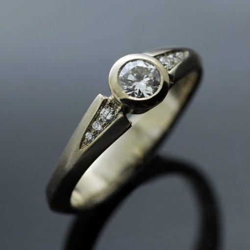 Handmade Diamond and White Gold engagement ring by Brighton Jeweller Julian Stephens