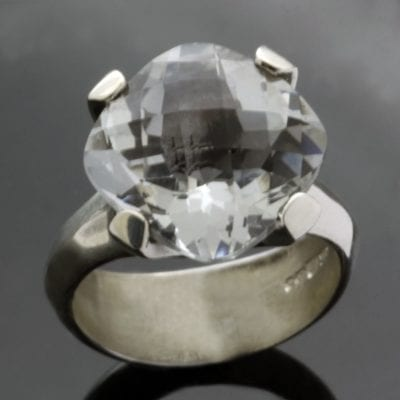 White Topaz gemstone Sterling Silver handmade statement ring
