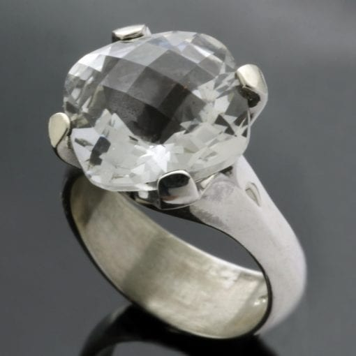 Cushion cut White Topaz handmade cocktail ring