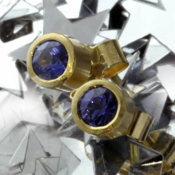 Blue Sapphire gemstone handmade Yellow Gold stud earrings