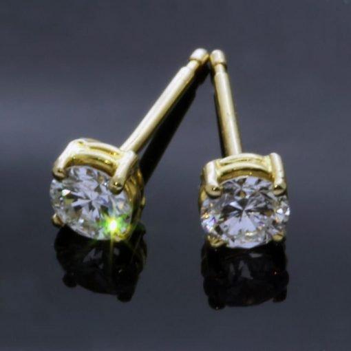 Stylish modern Diamond 18ct Yellow Gold stud earrings