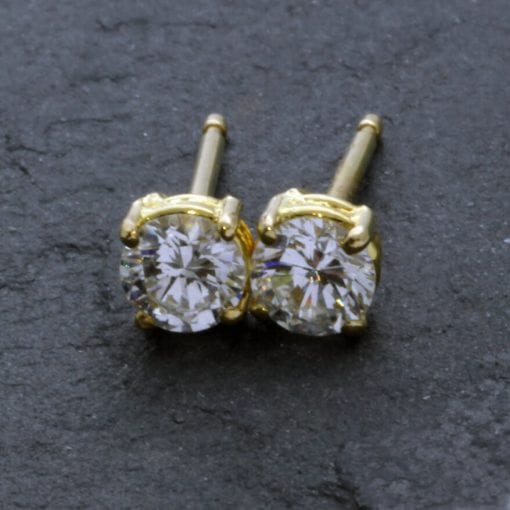 Contemporary Round Brilliant Diamond 18ct Yellow Gold stud earrings