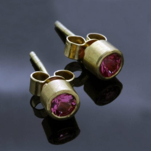 Contemporary Pink Spinel gemstone Yellow Gold handmade stud earrings