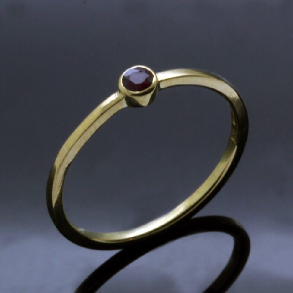 Stylish minimal stacking ring yellow gold ruby handmade