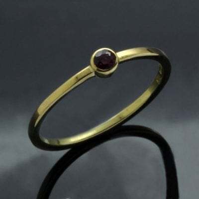 Handmade 18ct Yellow Gold Ruby Midi contemporary unique ring