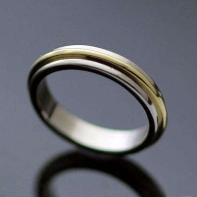 Modern stylish handmade wedding band 18ct White Gold 18ct Yellow Gold