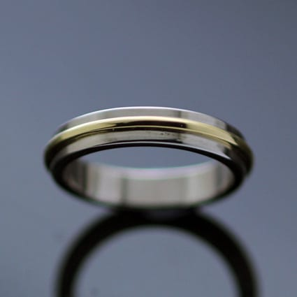 Modern White Gold Yellow Gold handmade wedding ring polished finish