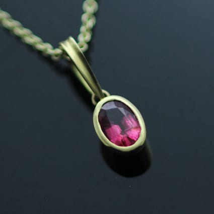Oval cut Pink Spinel gemstone 18ct Yellow Gold handmade necklace